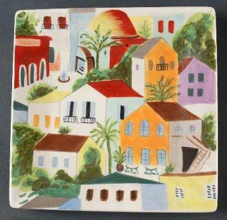 Pier 1 Villa Del Sol Square Salad Plate, Fine China Dinnerware   Houses, Rim, Sq