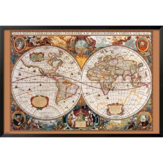 Art   17th Century World Map Framed Poster