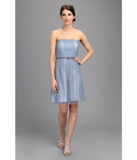 Donna Morgan Tulle Pleated Bodice With Belt Dress Womens Dress (Blue)