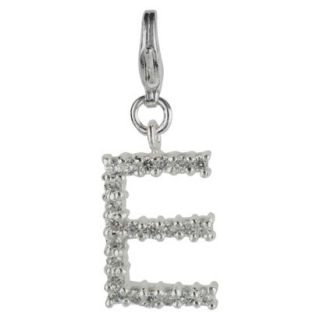 Womens Jezlaine Charm Silver Plated Crystal E Initial   Silver/Clear