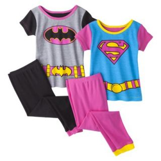 Batgirl and Supergirl Toddler Girls 4 Piece Short Sleeve Pajama Set