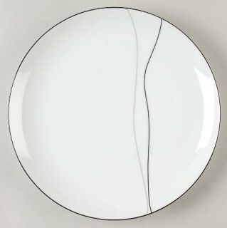 Mikasa Threads Dinner Plate, Fine China Dinnerware   Long Gray/Black Lines, Whit