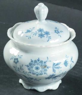 Christina Bavarian Blue Sugar Bowl & Lid, Fine China Dinnerware   Blue Flowers,