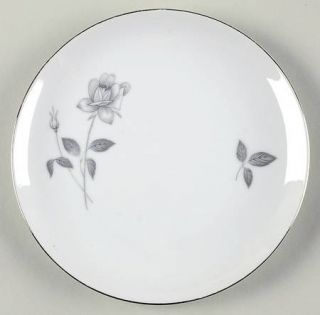 Queens Royal Queens Royal Salad Plate, Fine China Dinnerware   Gray Rose&Bud,Gra