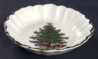 Cuthbertson Christmas Tree (Narrow Green Band,Cream) Nut Dish, Fine China Dinner