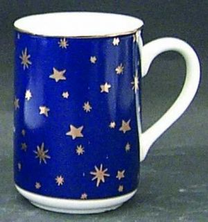 Sakura Galaxy Blue (China) Mug, Fine China Dinnerware   Gold Stars On Blue Rim,