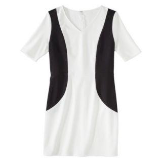 Merona Petites V Neck Colorblock Ponte Dress   Cream/Black LP