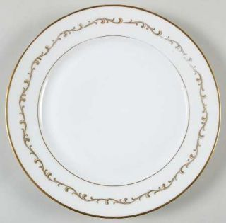 Heinrich   H&C 78358 Salad Plate, Fine China Dinnerware   Gold Scroll Design  On