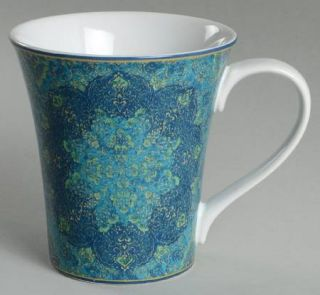 222 Fifth (PTS) Eva Opulent Blue Mug, Fine China Dinnerware   Blue,Turquoise & G