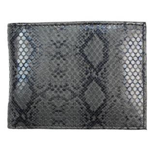 Mens Black Python embossed Leather Bi fold Wallet