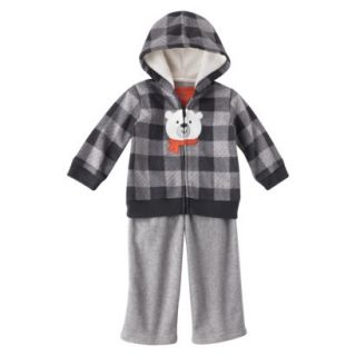 Just One You made by Carters Infant Boys 3 Piece Hoodie Set   Gray/Orange 3 M