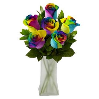 Rainbow Roses with Vase   6 Stems