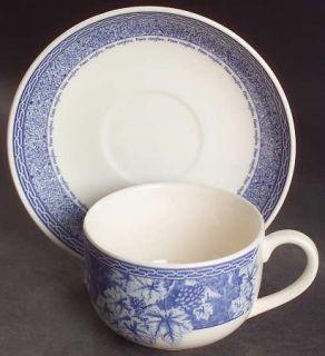 Wedgwood Vintage Blue Breakfast Cup & Cream Soup Saucer Set, Fine China Dinnerwa