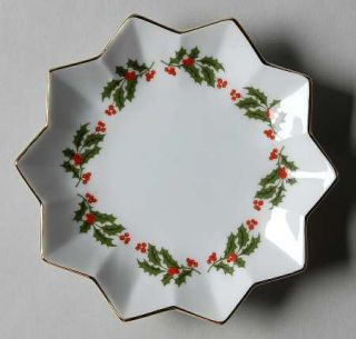 Kashima Christmas Holly (Smooth Edge,Coupe) Bon Bon, Fine China Dinnerware   Hol