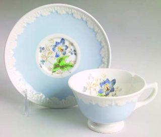 Wedgwood Hampton Court Blue Rim Footed Cup & Saucer Set, Fine China Dinnerware