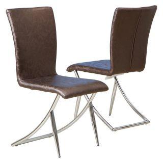 Best Selling Home Decor Furniture LLC MacKenzie Brown Leather Modern Chairs