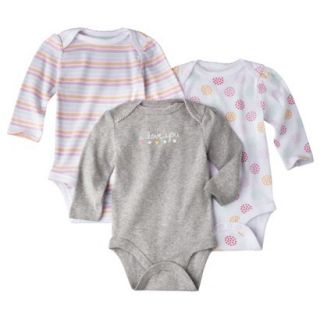 Circo Newborn Girls 3 Pack Long sleeve Bodysuit   Grey/Pink 3 6 M