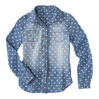 Cherokee Girls Button Down Shirt   Light Indigo M
