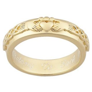 Gold Over Sterling Silver Personalized Engraved Claddagh Wedding Band   6