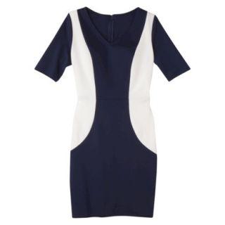 Merona Womens Ponte V Neck Color Block Dress   Navy/Sour Cream   M