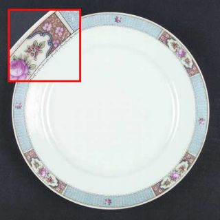 Crown China (Czech) Cwx1  Dinner Plate, Fine China Dinnerware   Blue Scroll Bord