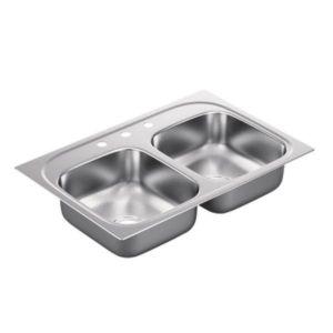 Moen BG222173 2200 Series Stainless steel 22 gauge double bowl drop in sink
