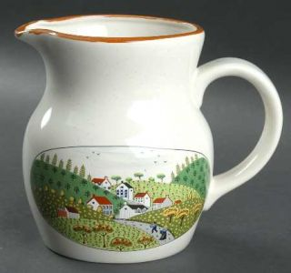 Newcor Country Village 32 Oz Pitcher, Fine China Dinnerware   Farm Land W/Apple