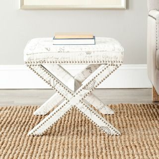 Safavieh X bench Nailhead French Script White Ottoman (WhiteMaterials: Cotton linen blend fabric and woodFinish: WhiteDimensions: 19 inches high x 21 inches wide x 21 inches deep )