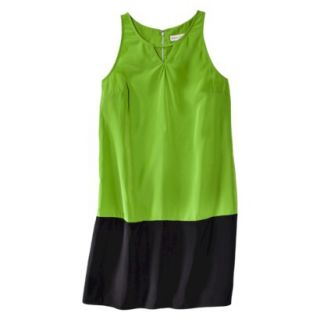 Merona Womens Colorblock Hem Shift Dress   Zuna Green/Black   XL