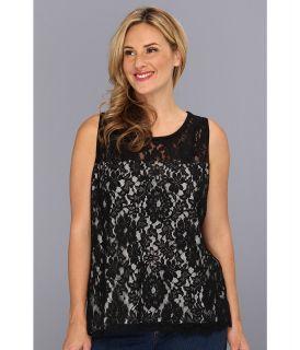 Karen Kane Plus Size Turkish Lace Top Womens Sleeveless (Black)