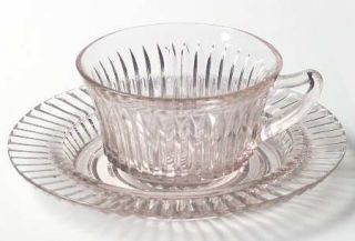 Anchor Hocking Queen Mary Pink Cup and Saucer Set   Pink, Depression Glass