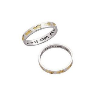Sterling Silver Two Tone Footprints Ring 9