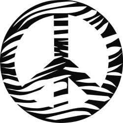 Vinyl Attraction Zebra Print Peace Sign Vinyl Wall Decal (Matte black Materials: Vinyl Dimensions: 23 inches tall x 23 inches wide )
