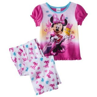 Disney Minnie Mouse Toddler Girls 2 Piece Short Sleeve Pajama Set   Pink 2T