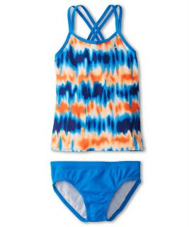 Nike Kids Motion Blur Spider Back Tankini And Brief Girls Swimwear Sets (Blue)