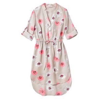 Merona Womens Drawstring Shirt Dress   Pink Floral   XXL
