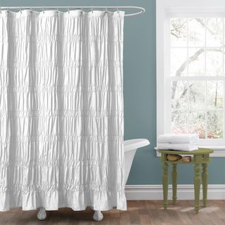 Lush Decor Emily White Shower Curtain (WhiteMaterials: Polyester blendDimensions: 72 inches wide x 72 inches longCare Instructions: Dry cleanThe digital images we display have the most accurate color possible. However, due to differences in computer monit