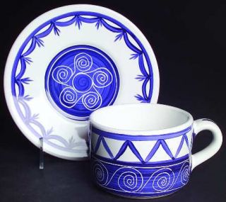 Block China Cote DAzur Flat Cup & Saucer Set, Fine China Dinnerware   Blue & Wh