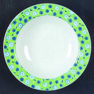 Studio Nova Cote DAzur   Green Rim Soup Bowl, Fine China Dinnerware   Blue Flow