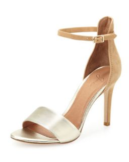 Womens Jaclyn Two Tone Ankle Wrap Sandal, Nude/Platinum   Joie