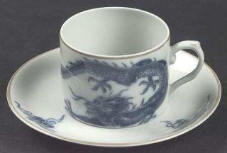 Mottahedeh Blue Dragon (Brown Trim) Flat Cup & Saucer Set, Fine China Dinnerware