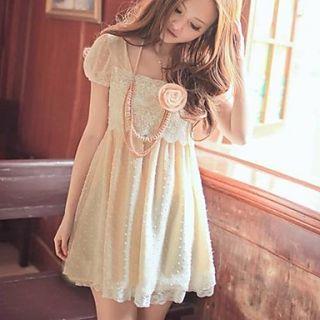 Womens Korean Style Polka Dots Short Sleeve Chiffon Dress