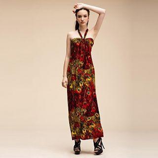 Maya Womens Floral Bohemian Print Maxi Straps Beach Dress