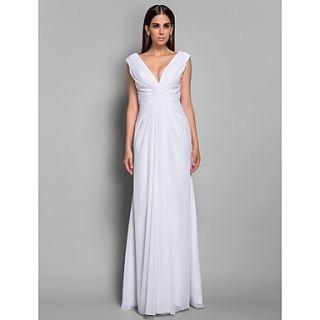V neck Chiffon Sheath/Column Floor length Evening Dress inspired by Tia Carrere at Grammy