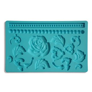 Fondant Gum Paste Fabric Designs Silicone Mold Cake Decorating Rose And Bead