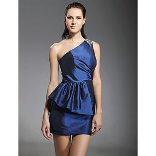 Taffeta Sheath/ Column One Shoulder Short/Mini Beaded Cocktail Dress inspired by Grammy