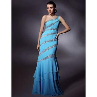 Chiffon/ Stretch Satin Trumpet/ Mermaid One Shoulder Floor length Beading Evening/Prom Dress inspired by Grammy