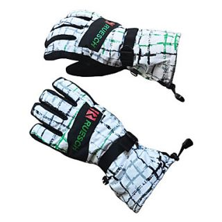 Rruesch   White Plaid Insulated Ski/Snowboard Gloves with Adjustable Strap