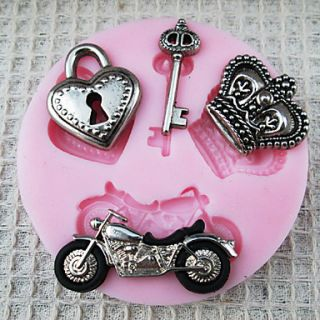 3D Motorcycle shaped Silicone Mold Fondant Molds Sugar Craft Tools Chocolate Mould For Cakes