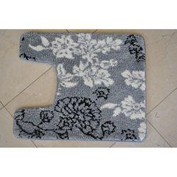 Memory Foam Grey Floral Contour Bath Mat